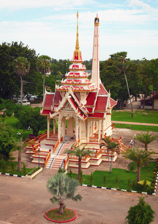 spire: Thai crematorium, typical Asian architecture with red tiles and gold spire.