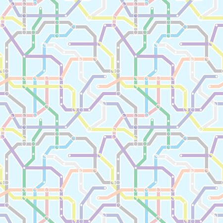 railway transport: Color metro railway transport scheme on blue background. Abstract seamless pattern