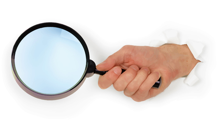 Hand holding simple magnifying glass on white paper background. Illustration