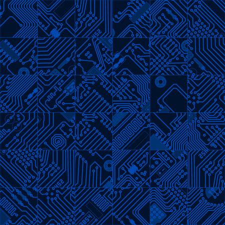 2d wallpaper: Computer circuit board dark blue pattern - seamless hi tech abstract texture background. Illustration