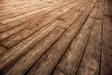 Abstract old wooden parquet floor grunge photographic vintage background - diagonal boards Stock Photo