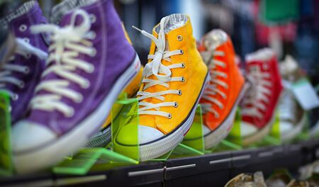sport wear: Collection of colorful casual gumshoes on shelves in the fashion store Stock Photo
