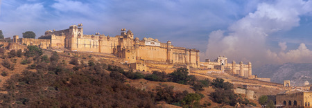 imposing: Amer fortress, with its broad ramparts and imposing architecture, protects the famous Amer Palace within its walls, near Jaipur, India.