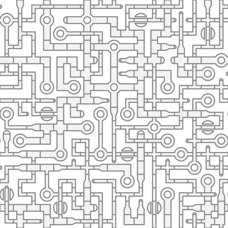 interesting: Seamless tile of illustrated pipe segments and other components, interconnected in interesting patterns of gray parts on a white background. Illustration