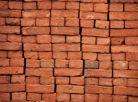 bricks background: New bricks are stacked. Red brick. Background Stock Photo