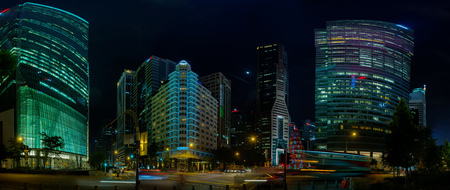 SINGAPORE - CIRCA JAN 2015: Singapores Beautiful Modern Architecture at Night