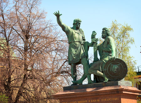honoring: MOSCOW, RUSSIA - CIRCA APR 2012: Bronze statue honoring Minin and Pozharsky at Red Square in Moscow Editorial