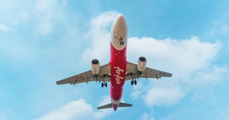 PHUKET, THAILAND - CIRCA FEB 2016: Air Asia Passenger Liner Landing in Phuket Editorial
