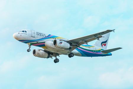 deployed: PHUKET, THAILAND - CIRCA FEB 2016: Commercial Airliner from Bangkok Air Landing in Phuket