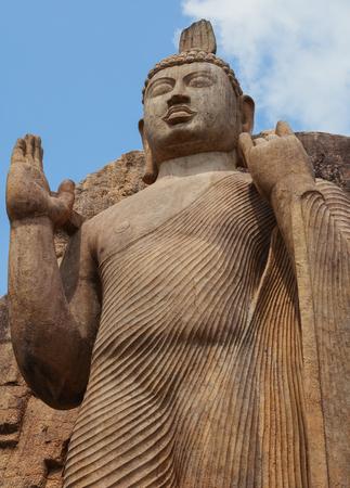 Avukana statue is a standing statue of the Buddha. Sri Lanka, Kekirawa Stock Photo