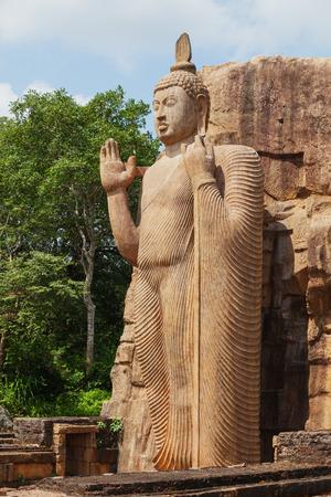 Full height of Avukana statue is a standing statue of the Buddha. Sri Lanka, Kekirawa Stock Photo