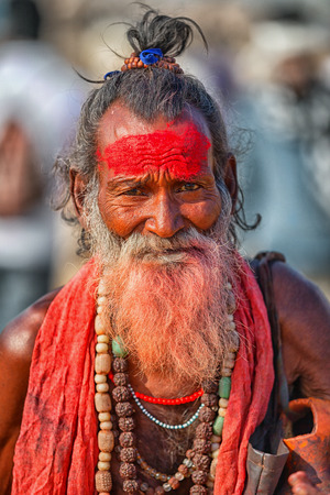 PUSHKAR, RAJASTHAN, INDIA - CIRCA NOV 2012: Portrait of a sadhu