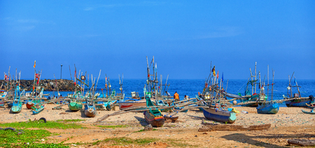 ceylon: GALLE, SRI LANKA - CIRCA APR 2013: A small port for fishing wooden boats