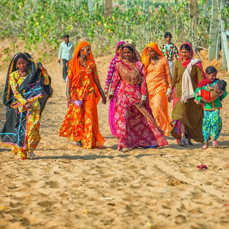 PUSHKAR, RAJASTHAN, INDIA - CIRCA NOV 2012: Indian women in traditional attire