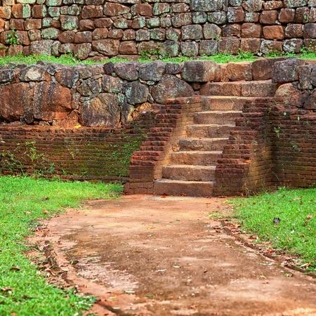 Ancient staircase made of red brick. Sri Lanka, Polonnaruwa