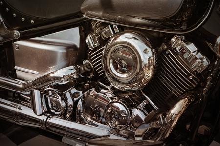 Details of motorcycle Chopper class. Metal details cloe up shot. Engine block