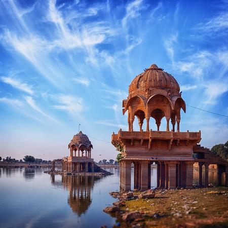 Old architecture at Gadisar Lake in Jaisalmer - vertical photo. India, Rajasthan