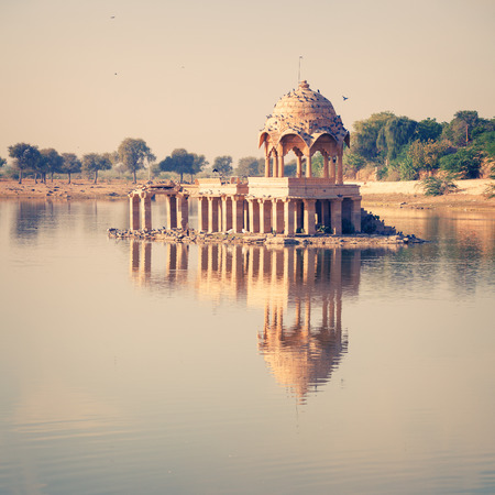 Gadsisar Lake is one of the major tourist attractions of Jaisalmer. India Stock Photo