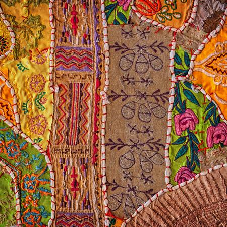 oriental rug: Jaisalmer, Rajasthan, India. Vintage Handmade Patchwork Tapestry Wall Hanging background
