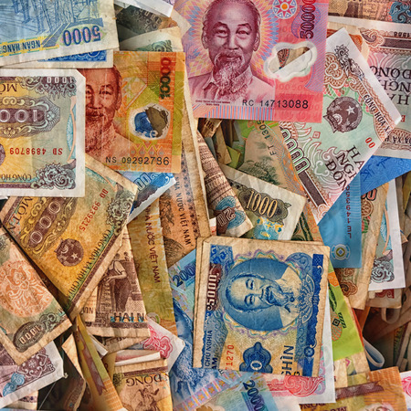 Vietnamese money. Paper money. Background