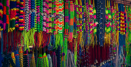 Selling decoration for the camels on the market. India, Radjasthan, Pushkar Stock Photo