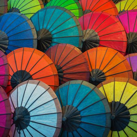 paper umbrella: Luang Prabang - Laos, colorful paper umbrellas on the market