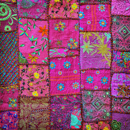 Lilac handmade tapestry background. India, Rajasthan
