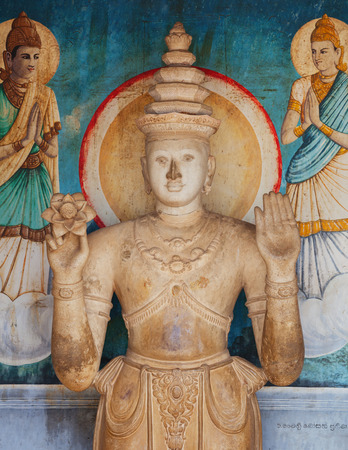 ANURANHAPURA, SRI LANKA - CIRCA APR 2013: Stone statue in the temple of Sri Lanka