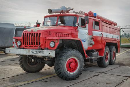 KIEV, UKRAINE - 01 OCT 2016: Old Car Land 2016 show. Soviet fire truck on the car Ural base