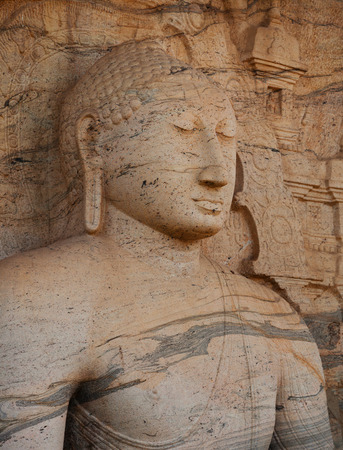 polonnaruwa: Polonnaruwa, Sri Lanka. Close up shot of Gal Vihara Buddhist statue