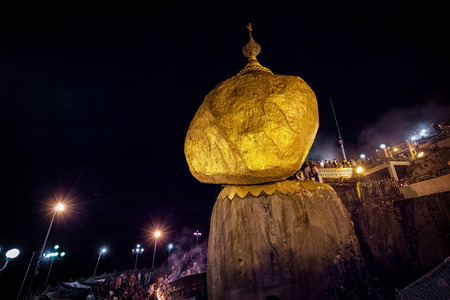 MON STATE, MYANMAR - 04 JAN 2014: Gold Rock, an Important Buddhist Pilgrimage Site in Mon State, Burma