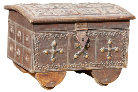 tooled: Antique, metal treasure box with lock hasp, and intricately tooled patterns, isolated against a white background.