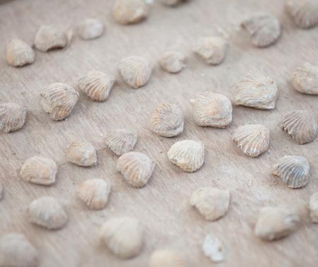 Merkwürdige Steinoberteile auf dem Zähler des indischen Marktes Standard-Bild - 87233036