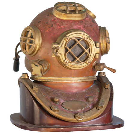 discolored: Antique, brass diving helmet with four windows and bolted fittings, isolated on a white background.