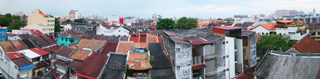 Panoramic photo of Penang, Malaysia. Roofs of old buildings