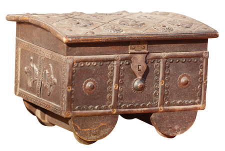 Antique, metal jewelry box with lock hasp, and intricately tooled patterns, isolated against a white background. Stock Photo