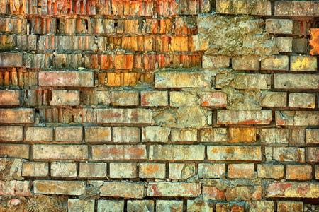 Detail der alten Backsteinmauer . Alter Mauerwerk Hintergrund Standard-Bild - 90252594