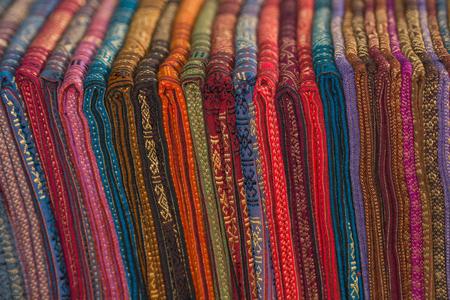 Handmade colourful silk fabric from Laos market