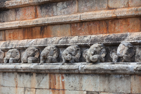 Sri Lanka, Anuradhapura. Ancient walls with carving