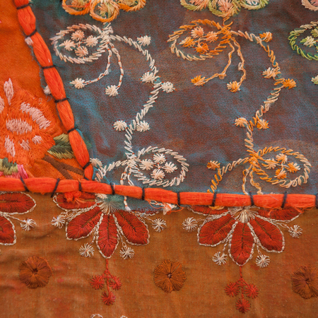 Indian vintage handmade embroidery tapestry square background