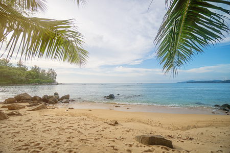 Beach on Phuket island, Thailand. The tropical ocean, palm trees and sand among the rocks Standard-Bild
