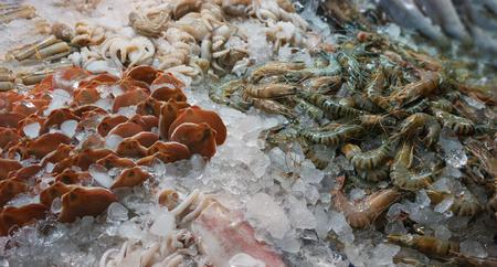 Frozen foods on the market in Thailand. Octopuses, crustaceans etc.