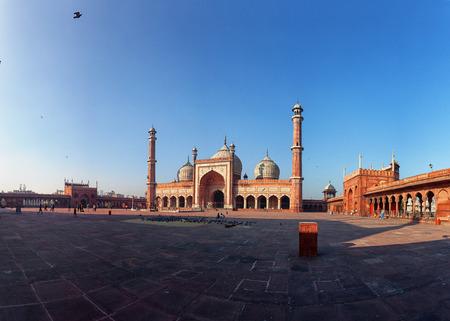Panorama with famous Jama Masjid mosque. Delhi, India.