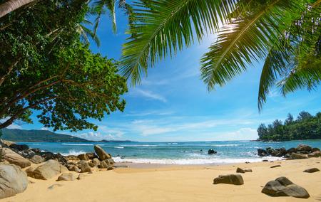 Deserted cozy small tropical beach. Thailand, Phuket Standard-Bild - 90650976