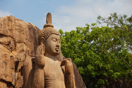 The Avukana statue is a standing statue of the Buddha. Sri Lanka. Horizontal shot