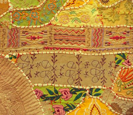 Jaisalmer, Rajasthan, India. Vintage Handmade Patchwork Tapestry Wall Hanging background