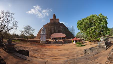 Sri Lanka, Anuradhapura. Abhayagiri Dagoba during reconstruction Standard-Bild - 90534910