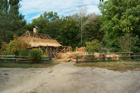 Renovation of the thatched roof in the Ukrainian village. Kiev, Porogovo