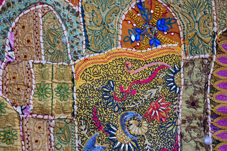 Jaisalmer, Rajasthan, India. Vintage old natural tapestry - authentic traditional Indian style