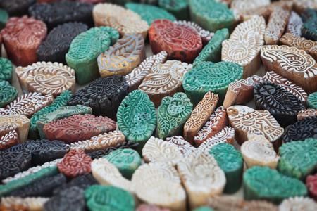 Vintage handmade wooden printing blocks. India